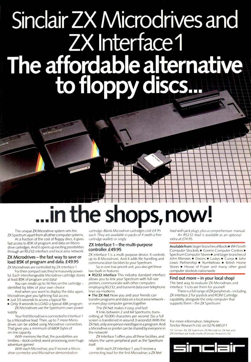 ZX Interface 1 and Micrdrive Advert