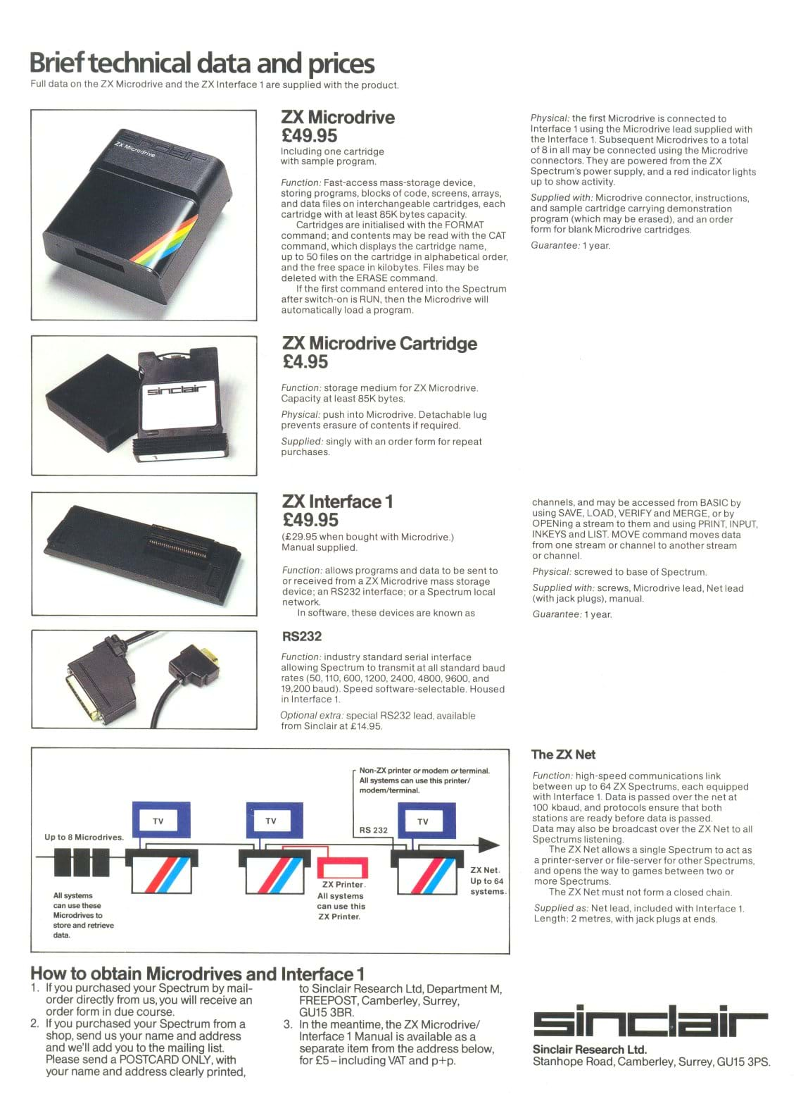 ZX Interface 1 and Micrdrive Leaflet Back