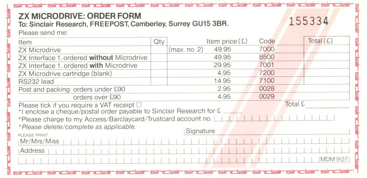 ZX Interface 1 and Micrdrive Order Form