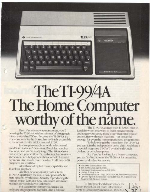 TI-99/4A Advert