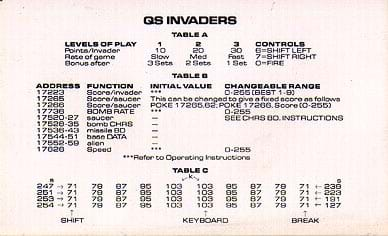 QS Invaders Pokes